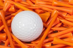 witte golfbal die tussen houten T-stukken ligt foto