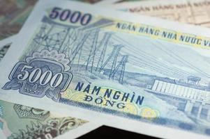 bankbiljet in vijfduizend Vietnamese dong dichte omhooggaand