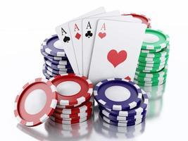 3D casino penningen en speelkaarten. geïsoleerde witte achtergrond foto