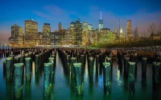 oude pier in Brooklyn foto