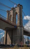 sluit omhoog van de brug van Brooklyn foto