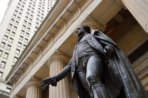 george washington bij de federale zaal op muurst., NY