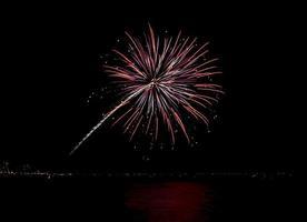 Coney Island Beach Vuurwerk foto