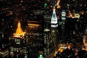 Lower Manhattan 's nachts, New York City, Verenigde Staten foto