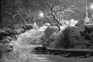 carl schurz park gedrapeerd in sneeuw