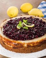 gebakken bosbessen citroen cheesecake foto