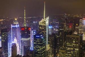 Manhattan overzicht 's nachts vanaf Empire State Building foto