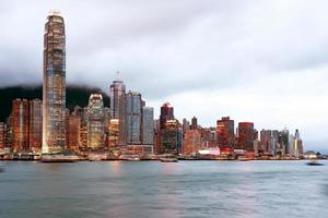 hong kong nacht uitzicht op de haven van victoria foto