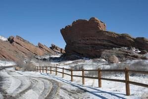 rode rotsen park Colorado in de winter