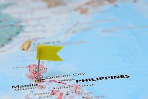Manilla vastgemaakt op een kaart van Azië