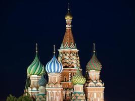 Moskou 's nachts, Rusland, Rode Plein, Kathedraal foto