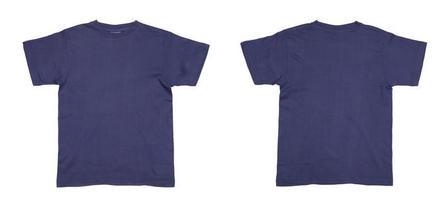 de voor- en achterkant van een blauw heren t-shirt