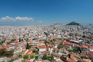 Athene en Lykavitos heuvel van de Akropolis, Griekenland foto