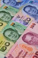 verschillende bankbiljetten uit Thailand foto