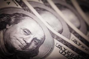 portret van Benjamin Franklin van honderd dollar bill nieuw foto