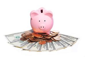 spaarvarken met geïsoleerd geld foto