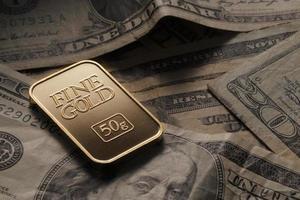 goud op dollar foto
