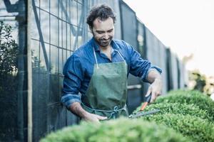 tuinman snoeien op kwekerij foto