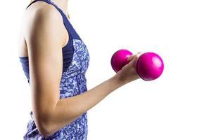 fit vrouw tillen roze halter foto