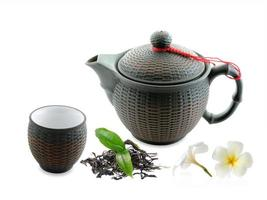 groene theebalken en geïsoleerde theepot foto