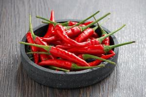 kom met verse chili pepers foto