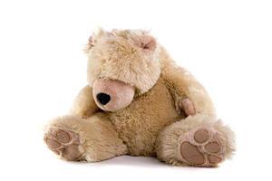 triest teddybeer op witte achtergrond foto
