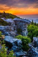 zonsopgang bij Bear Rocks behouden, in Dolly Sods wildernis, Monon foto