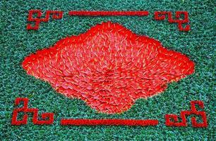 achtergrond met rode flamingo lelie bloemen, calla lelie foto