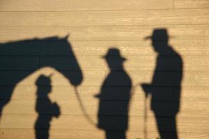 paard, veedrijfsters en cowboyschaduwen foto