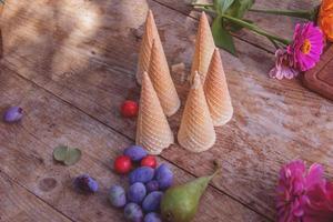 cornet en bloemen foto