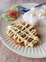 gebakken varkensvlees (tonkatsu) met rijst foto