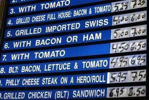 diner menu foto