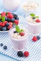 gezonde bessen smoothies met havermout, verticaal, close-up foto