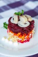 Russische traditionele haring salade foto