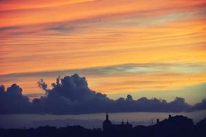zonsondergang in Lissabon, Portugal foto