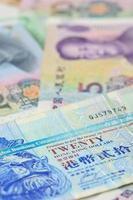 Hongkong dollar en Chinese yuan bankbiljetten, voor geld concept foto