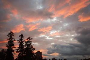 zonsondergang met een silhouet foto