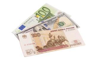 euro, dollars en de Russische roebels foto