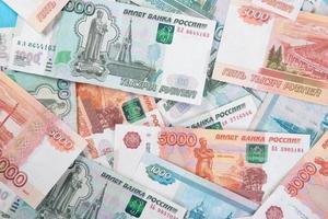 Russische geld roebel bankbiljetten achtergrond foto