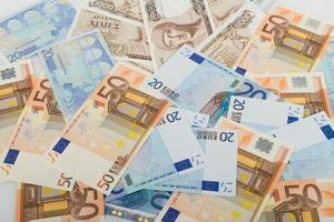 oude Griekse 1000 drachmen bankbiljetten en eurobiljetten foto