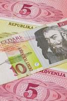 verschillende tolaire bankbiljetten uit slovenië