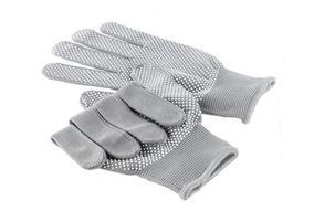 paar handschoenen dat op wit wordt geïsoleerd foto