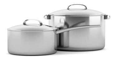 twee kookpannen geïsoleerd op een witte achtergrond foto