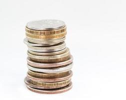 stapel van Russische munten. foto