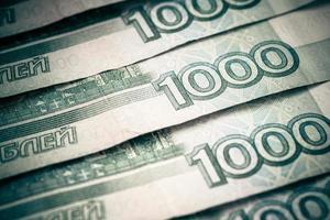 achtergrond van Russische roebels. foto
