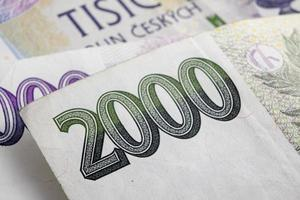 Tsjechische korunas czk, bankbiljetten foto