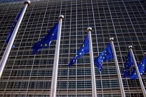 Europese vlaggen in Brussel foto
