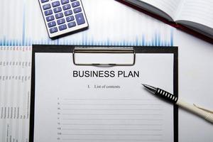 zakelijk stilleven met businessplan foto