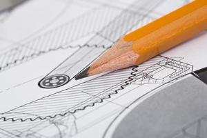 tekeningsdetail en potlood foto