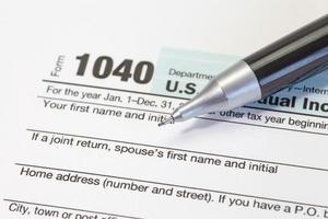 close - up Amerikaanse inkomstenbelasting foto